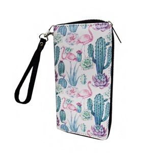 Floral Cactus With Flamingos Wallet